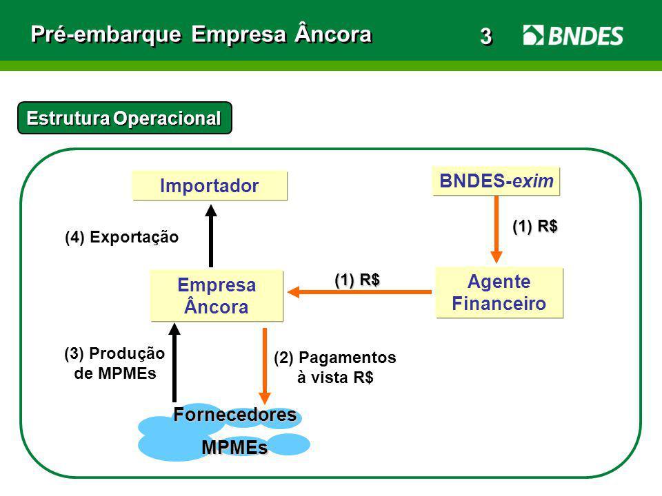 Pré-embarque Empresa Âncora Estrutura Operacional Agente Financeiro (4) Exportação (3) Produção de MPMEs Empresa Âncora (1) R$ (1) R$ BNDES-exim Forne