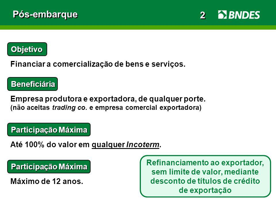 Pós-embarque Objetivo Financiar a comercialização de bens e serviços. Beneficiária Empresa produtora e exportadora, de qualquer porte. (não aceitas tr