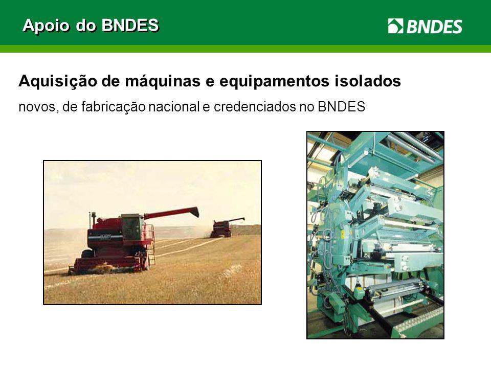 Aquisição de máquinas e equipamentos isolados novos, de fabricação nacional e credenciados no BNDES Apoio do BNDES