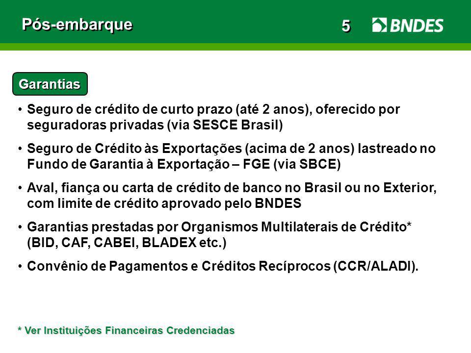 Pós-embarque Garantias Seguro de crédito de curto prazo (até 2 anos), oferecido por seguradoras privadas (via SESCE Brasil) Seguro de Crédito às Expor