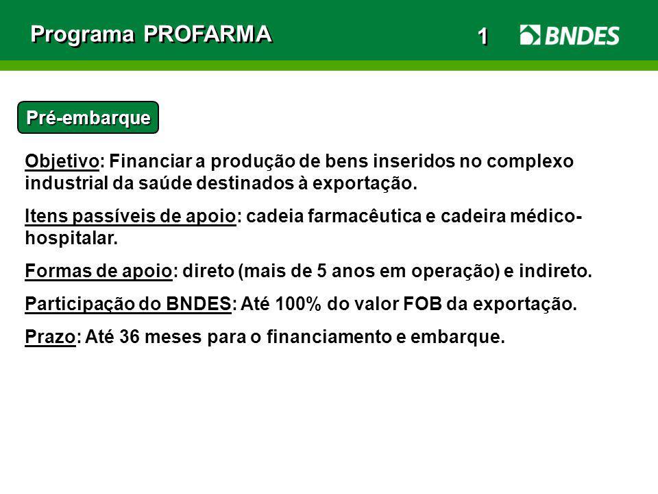 Programa PROFARMA Pré-embarque Objetivo: Financiar a produção de bens inseridos no complexo industrial da saúde destinados à exportação. Itens passíve