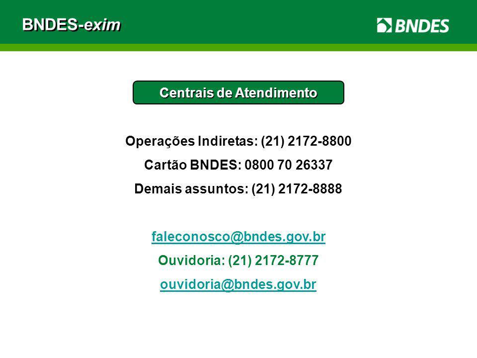 BNDES-exim Centrais de Atendimento Operações Indiretas: (21) 2172-8800 Cartão BNDES: 0800 70 26337 Demais assuntos: (21) 2172-8888 faleconosco@bndes.g