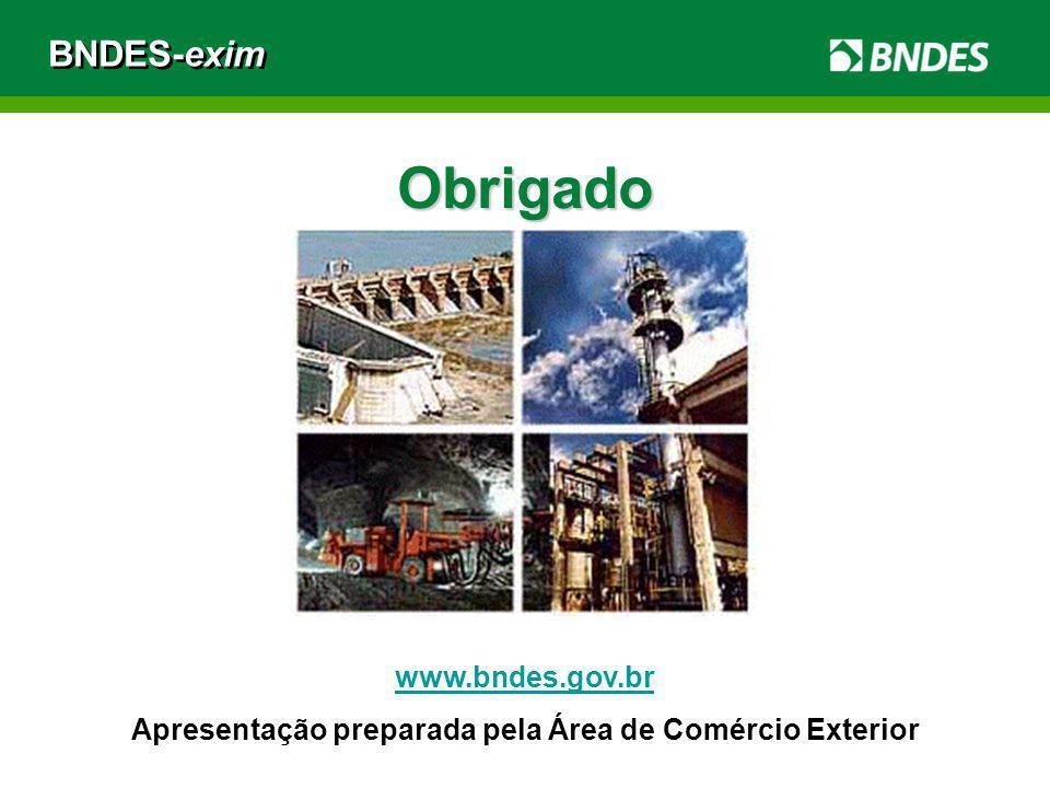 BNDES-exim Obrigado www.bndes.gov.br Apresentação preparada pela Área de Comércio Exterior