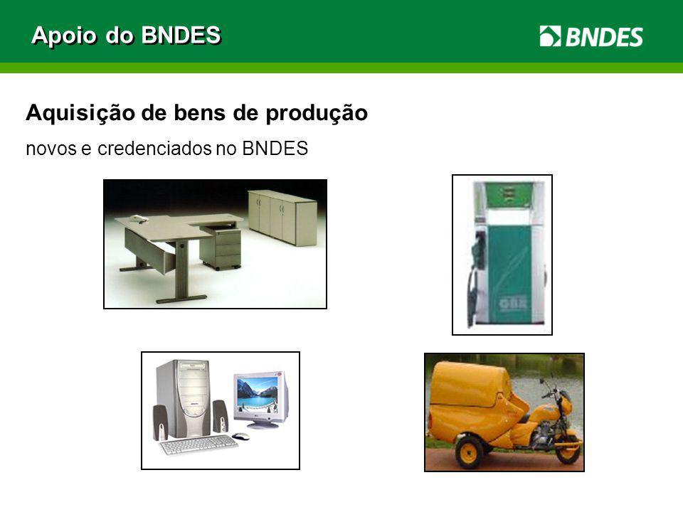 Aquisição de bens de produção novos e credenciados no BNDES Apoio do BNDES