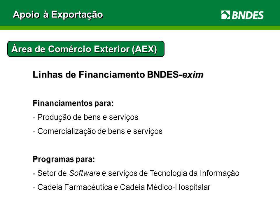 Linhas de Financiamento BNDES-exim Financiamentos para: - Produção de bens e serviços - Comercialização de bens e serviços Programas para: - - Setor d