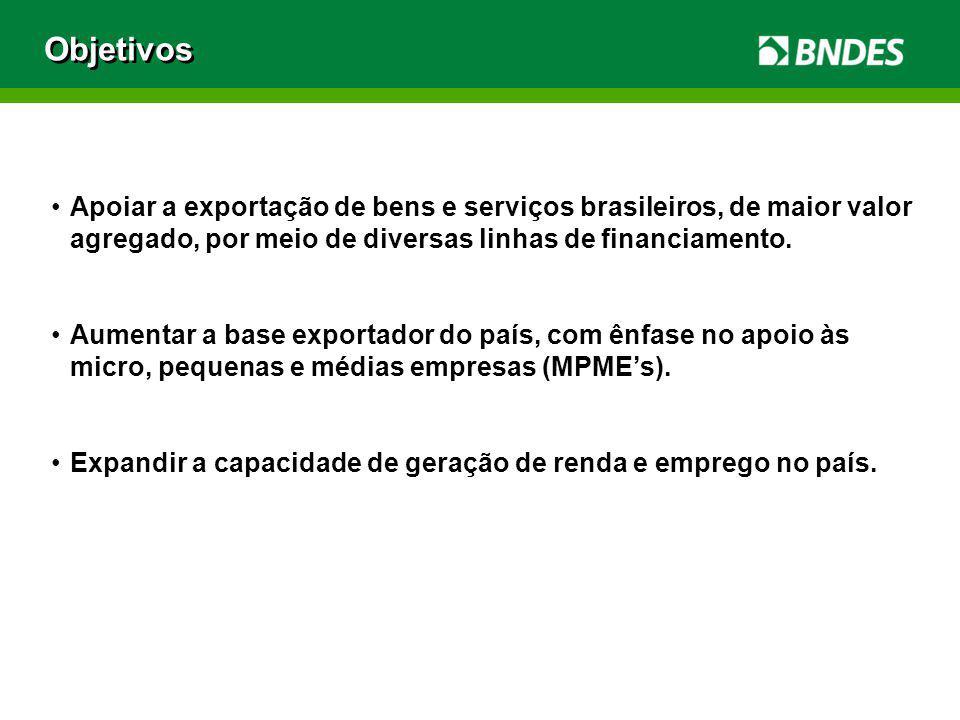 Apoiar a exportação de bens e serviços brasileiros, de maior valor agregado, por meio de diversas linhas de financiamento. Aumentar a base exportador
