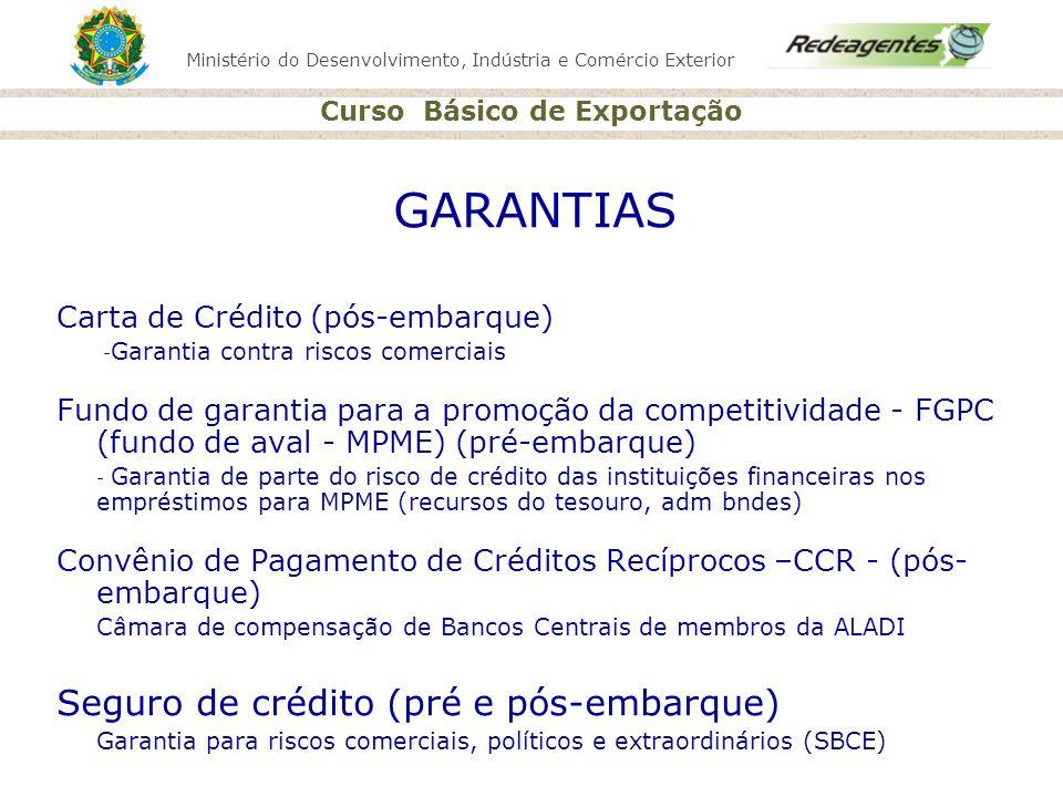 Ministério do Desenvolvimento, Indústria e Comércio Exterior Curso Básico de Exportação GARANTIAS Carta de Crédito (pós-embarque) - Garantia contra ri