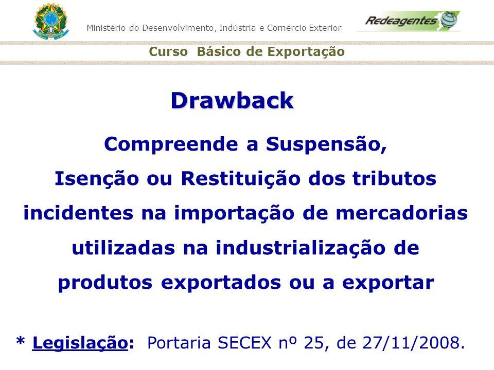 Ministério do Desenvolvimento, Indústria e Comércio Exterior Curso Básico de Exportação Drawback Compreende a Suspensão, Isenção ou Restituição dos tr