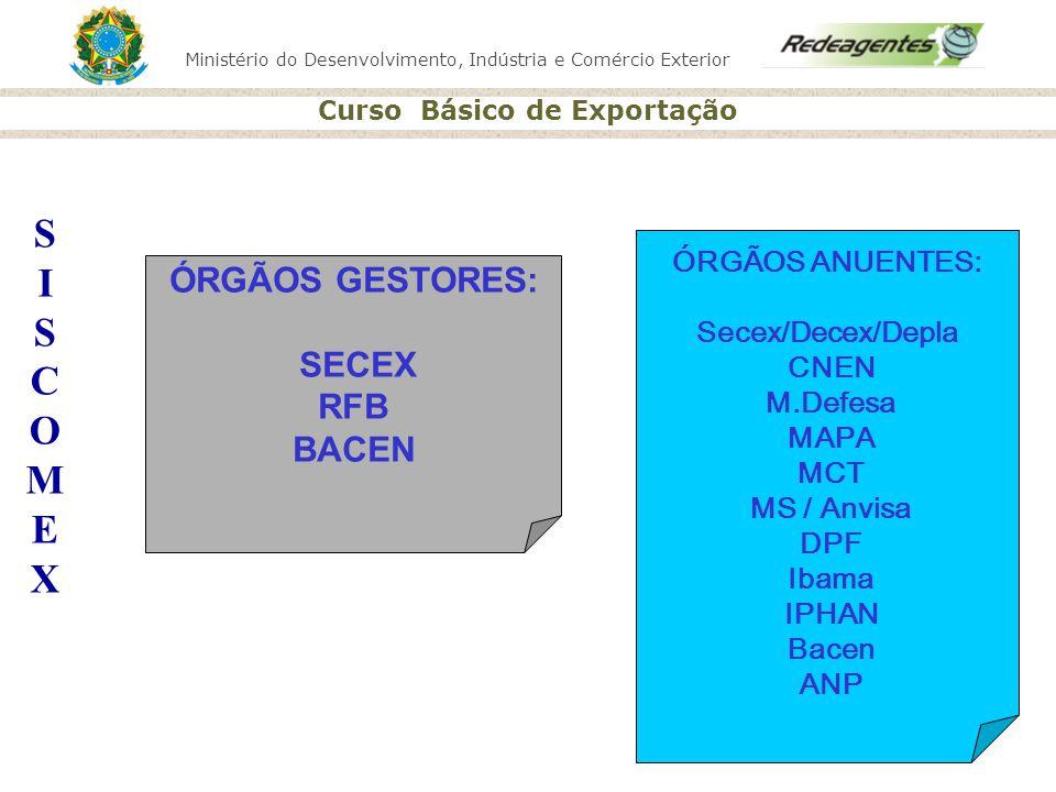 Ministério do Desenvolvimento, Indústria e Comércio Exterior Curso Básico de Exportação S I S C O M E X ÓRGÃOS ANUENTES: Secex/Decex/Depla CNEN M.Defe