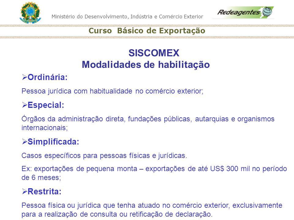 Ministério do Desenvolvimento, Indústria e Comércio Exterior Curso Básico de Exportação SISCOMEX Modalidades de habilitação Ordinária: Pessoa jurídica
