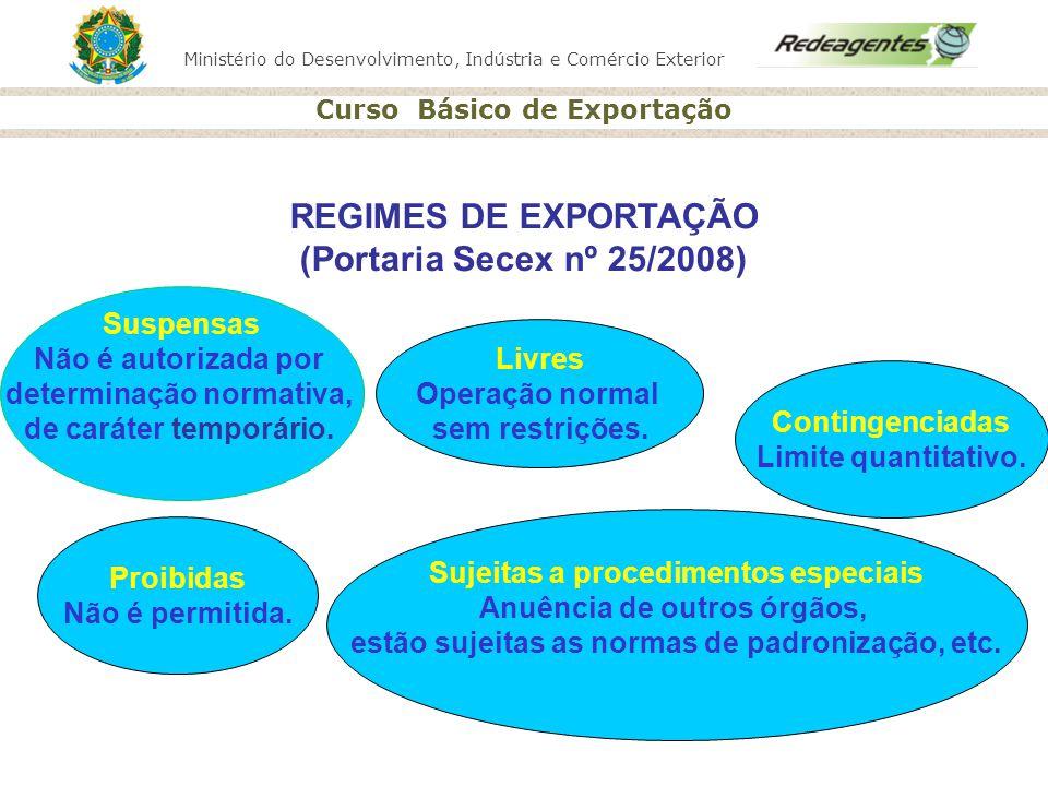 Ministério do Desenvolvimento, Indústria e Comércio Exterior Curso Básico de Exportação Proibidas Não é permitida. Contingenciadas Limite quantitativo