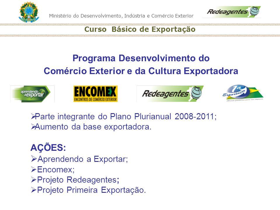 Ministério do Desenvolvimento, Indústria e Comércio Exterior Curso Básico de Exportação Parte integrante do Plano Plurianual 2008-2011; Aumento da bas