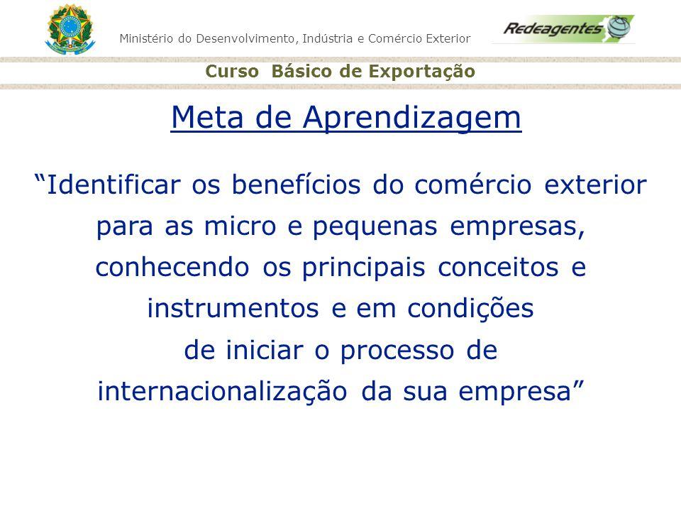 Ministério do Desenvolvimento, Indústria e Comércio Exterior Curso Básico de Exportação BRAZILTRADENET http://www.braziltradenet.gov.br Sistema que proporciona fácil acesso a oportunidades comerciais e de desenvolvimento; Divulga, junto ao empresariado não-brasileiro, ofertas de exportação e demandas de investimento; Acesso a resultados de estudos de mercados e produtos selecionados.