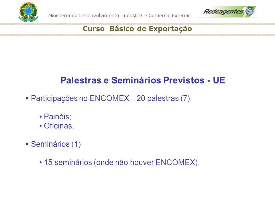 Ministério do Desenvolvimento, Indústria e Comércio Exterior Curso Básico de Exportação Palestras e Seminários Previstos - UE Participações no ENCOMEX