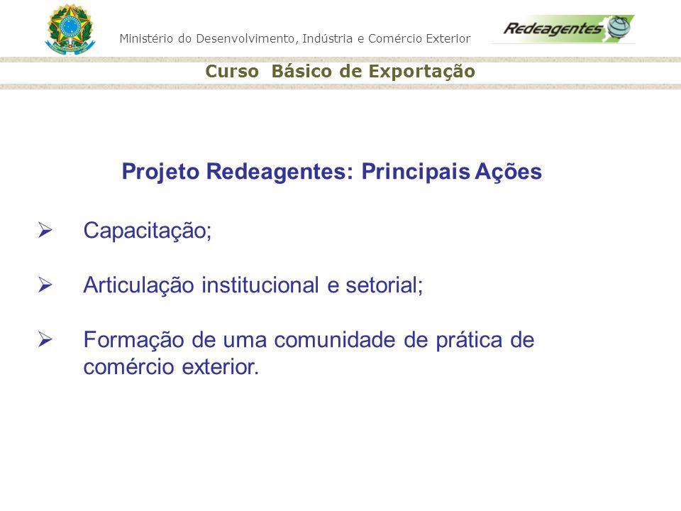 Ministério do Desenvolvimento, Indústria e Comércio Exterior Curso Básico de Exportação Projeto Redeagentes: Principais Ações Capacitação; Articulação