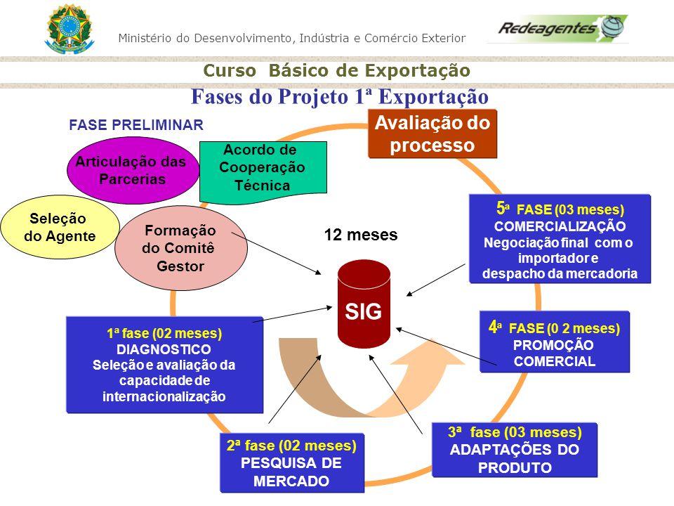 Ministério do Desenvolvimento, Indústria e Comércio Exterior Curso Básico de Exportação 1ª fase (02 meses) DIAGNOSTICO Seleção e avaliação da capacida