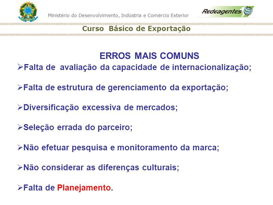 Ministério do Desenvolvimento, Indústria e Comércio Exterior Curso Básico de Exportação ERROS MAIS COMUNS Falta de avaliação da capacidade de internac