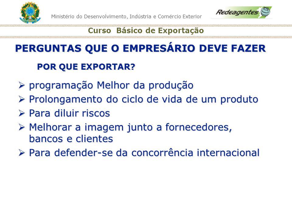 Ministério do Desenvolvimento, Indústria e Comércio Exterior Curso Básico de Exportação POR QUE EXPORTAR? programação Melhor da produção programação M