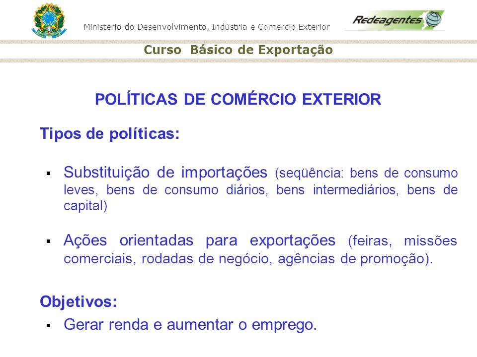 Ministério do Desenvolvimento, Indústria e Comércio Exterior Curso Básico de Exportação Tipos de políticas: Substituição de importações (seqüência: be