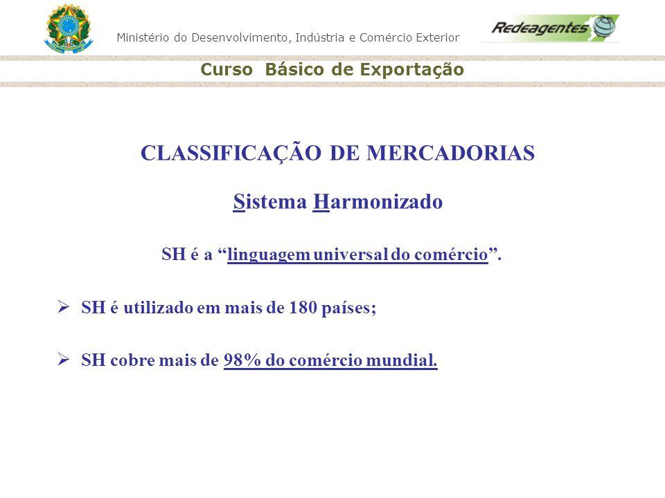 Ministério do Desenvolvimento, Indústria e Comércio Exterior Curso Básico de Exportação CLASSIFICAÇÃO DE MERCADORIAS Sistema Harmonizado SH é a lingua