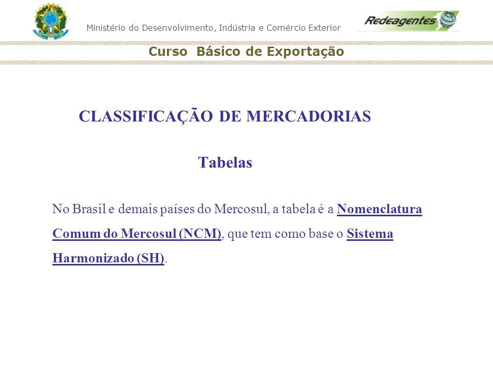 Ministério do Desenvolvimento, Indústria e Comércio Exterior Curso Básico de Exportação CLASSIFICAÇÃO DE MERCADORIAS Tabelas No Brasil e demais países
