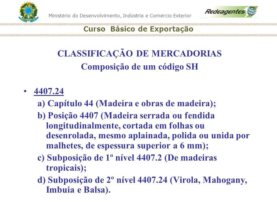 Ministério do Desenvolvimento, Indústria e Comércio Exterior Curso Básico de Exportação CLASSIFICAÇÃO DE MERCADORIAS Composição de um código SH 4407.2