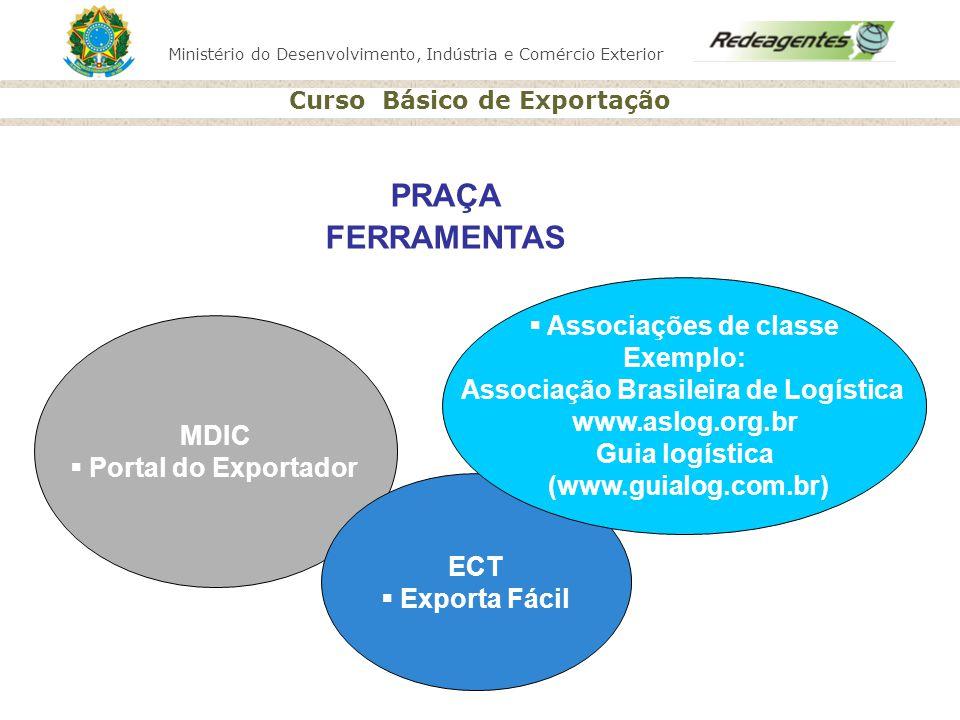 Ministério do Desenvolvimento, Indústria e Comércio Exterior Curso Básico de Exportação MDIC Portal do Exportador ECT Exporta Fácil Associações de cla