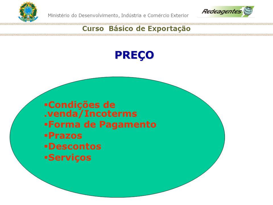 Ministério do Desenvolvimento, Indústria e Comércio Exterior Curso Básico de Exportação PREÇO Condições de.venda/Incoterms Forma de Pagamento Prazos D