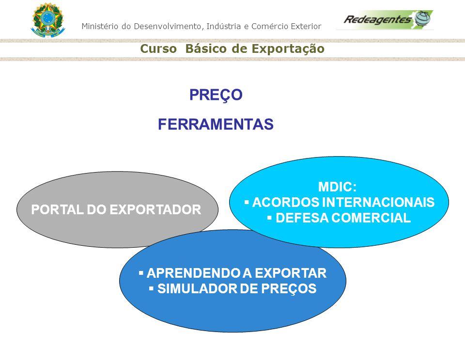 Ministério do Desenvolvimento, Indústria e Comércio Exterior Curso Básico de Exportação PORTAL DO EXPORTADOR APRENDENDO A EXPORTAR SIMULADOR DE PREÇOS