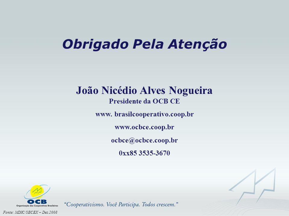 Obrigado Pela Atenção Fonte: MDIC/SECEX – Dez.2008 João Nicédio Alves Nogueira Presidente da OCB CE www. brasilcooperativo.coop.br www.ocbce.coop.br o