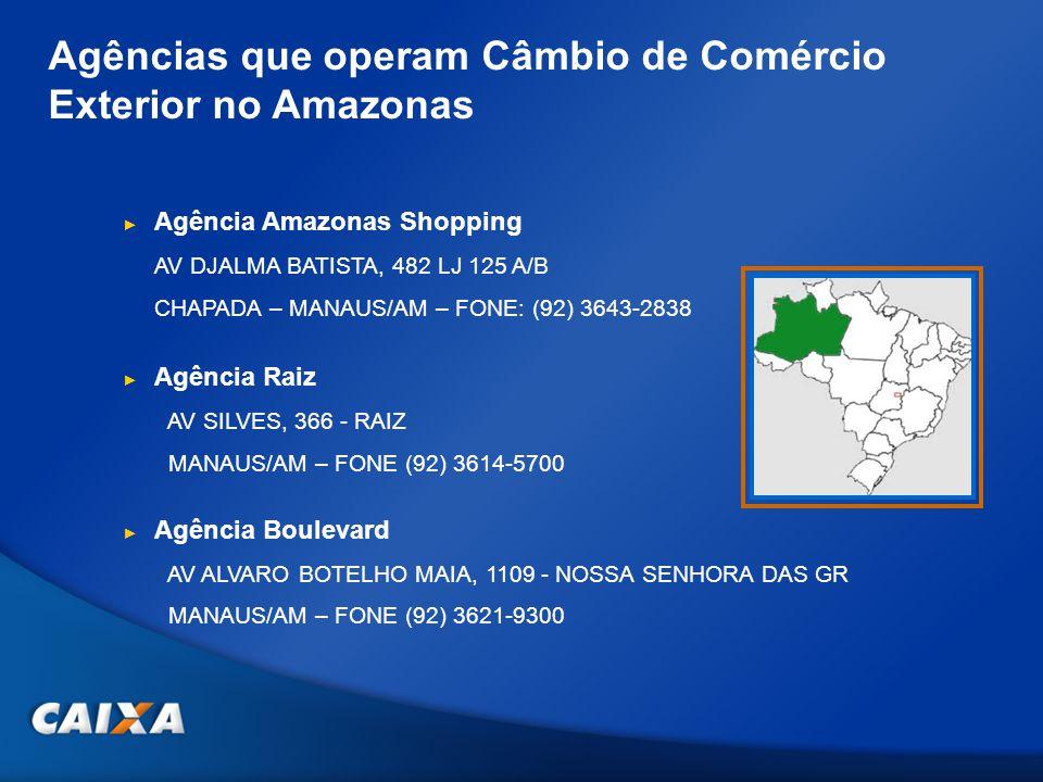Agências que operam Câmbio de Comércio Exterior no Amazonas Agência Amazonas Shopping AV DJALMA BATISTA, 482 LJ 125 A/B CHAPADA – MANAUS/AM – FONE: (9