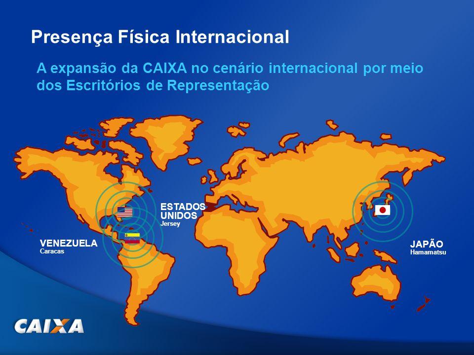 JAPÃO Hamamatsu ESTADOS UNIDOS Jersey VENEZUELA Caracas A expansão da CAIXA no cenário internacional por meio dos Escritórios de Representação Presenç
