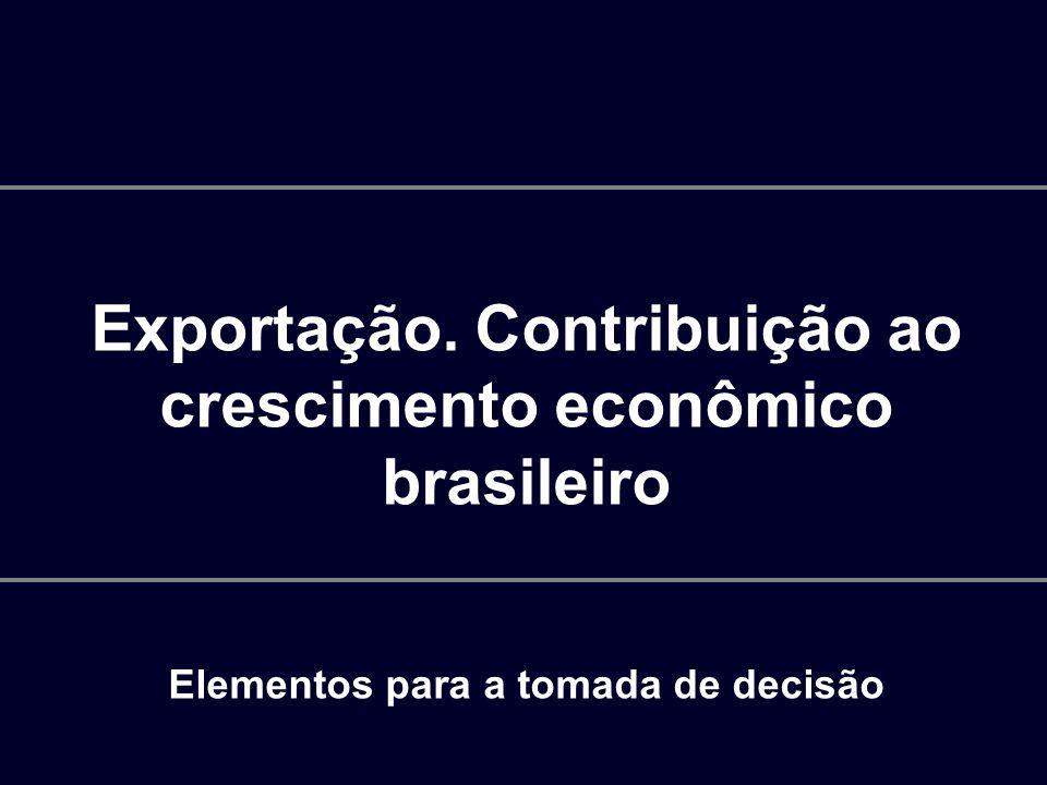 Exportação. Contribuição ao crescimento econômico brasileiro Elementos para a tomada de decisão