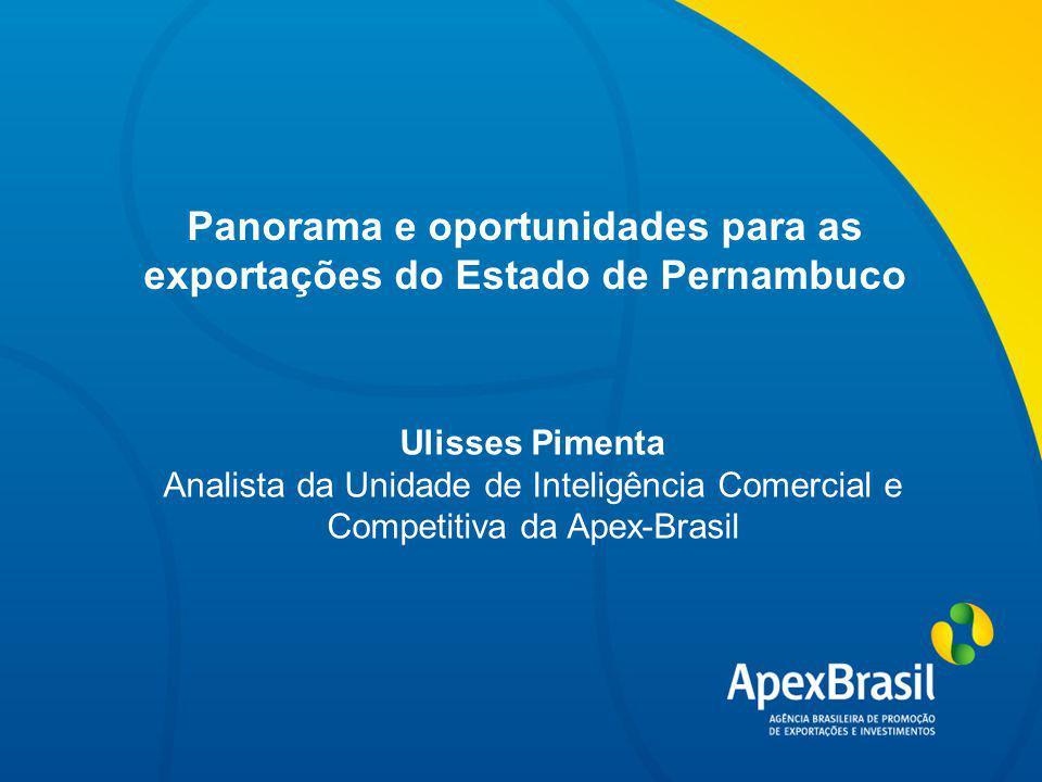 Título da apresentação Panorama e oportunidades para as exportações do Estado de Pernambuco Ulisses Pimenta Analista da Unidade de Inteligência Comercial e Competitiva da Apex-Brasil