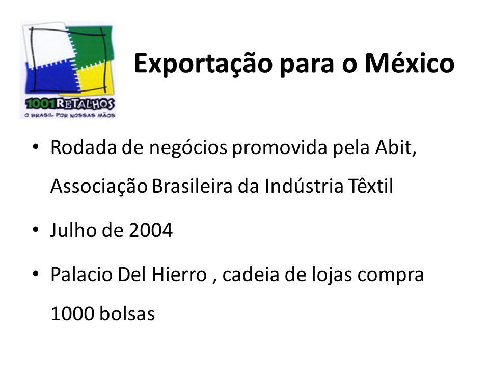 Exportação para o México Rodada de negócios promovida pela Abit, Associação Brasileira da Indústria Têxtil Julho de 2004 Palacio Del Hierro, cadeia de lojas compra 1000 bolsas