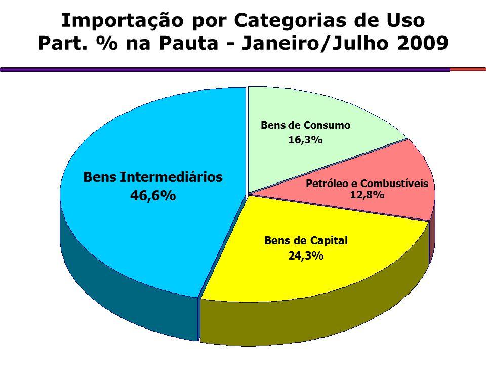 Importação por Categorias de Uso Part. % na Pauta - Janeiro/Julho 2009 Bens Intermediários 46,6% Bens de Capital 24,3% Petróleo e Combustíveis 12,8% B