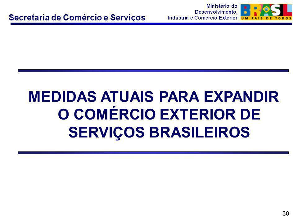 Secretaria de Comércio e Serviços Ministério do Desenvolvimento, Indústria e Comércio Exterior 30 MEDIDAS ATUAIS PARA EXPANDIR O COMÉRCIO EXTERIOR DE SERVIÇOS BRASILEIROS