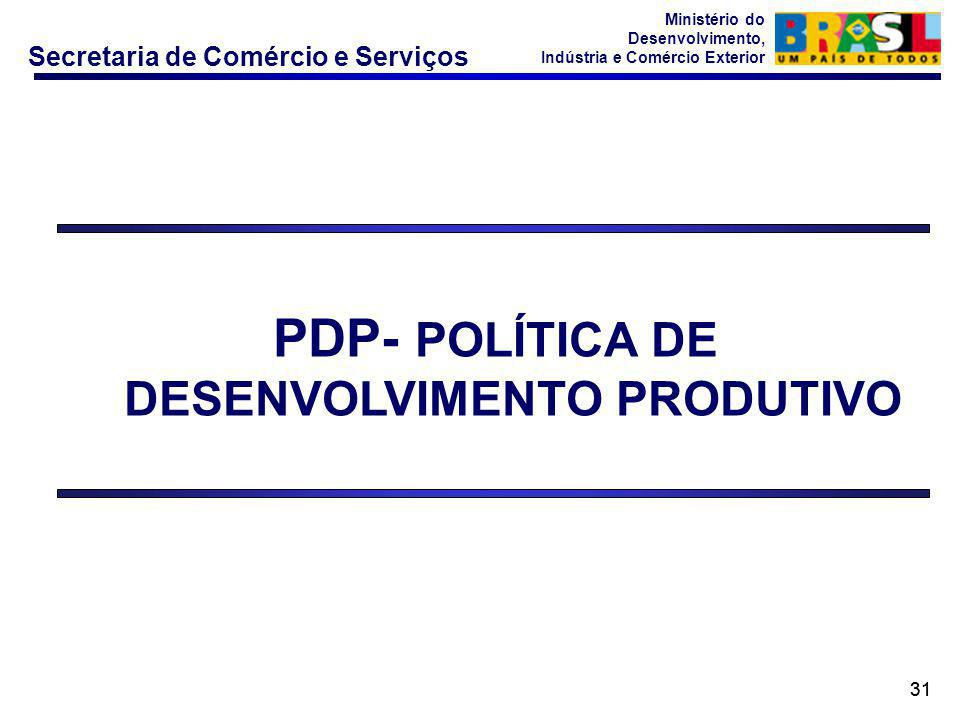 Secretaria de Comércio e Serviços Ministério do Desenvolvimento, Indústria e Comércio Exterior 31 PDP- POLÍTICA DE DESENVOLVIMENTO PRODUTIVO