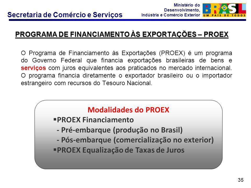 Secretaria de Comércio e Serviços Ministério do Desenvolvimento, Indústria e Comércio Exterior 35 PROGRAMA DE FINANCIAMENTO ÀS EXPORTAÇÕES – PROEX O Programa de Financiamento às Exportações (PROEX) é um programa do Governo Federal que financia exportações brasileiras de bens e serviços com juros equivalentes aos praticados no mercado internacional.