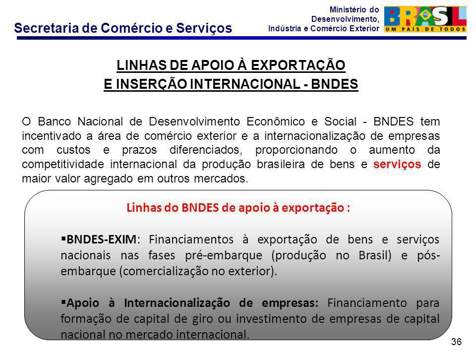 Secretaria de Comércio e Serviços Ministério do Desenvolvimento, Indústria e Comércio Exterior 36 LINHAS DE APOIO À EXPORTAÇÃO E INSERÇÃO INTERNACIONAL - BNDES O Banco Nacional de Desenvolvimento Econômico e Social - BNDES tem incentivado a área de comércio exterior e a internacionalização de empresas com custos e prazos diferenciados, proporcionando o aumento da competitividade internacional da produção brasileira de bens e serviços de maior valor agregado em outros mercados.