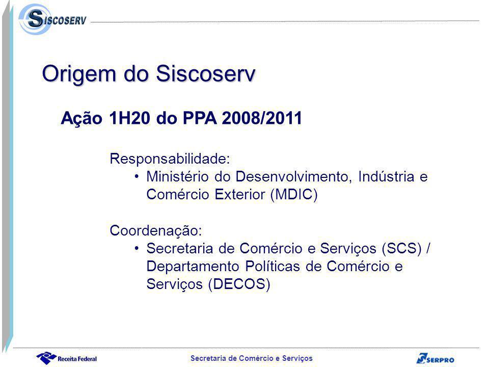 Secretaria de Comércio e Serviços Ação 1H20 do PPA 2008/2011 Responsabilidade: Ministério do Desenvolvimento, Indústria e Comércio Exterior (MDIC) Coordenação: Secretaria de Comércio e Serviços (SCS) / Departamento Políticas de Comércio e Serviços (DECOS) Origem do Siscoserv