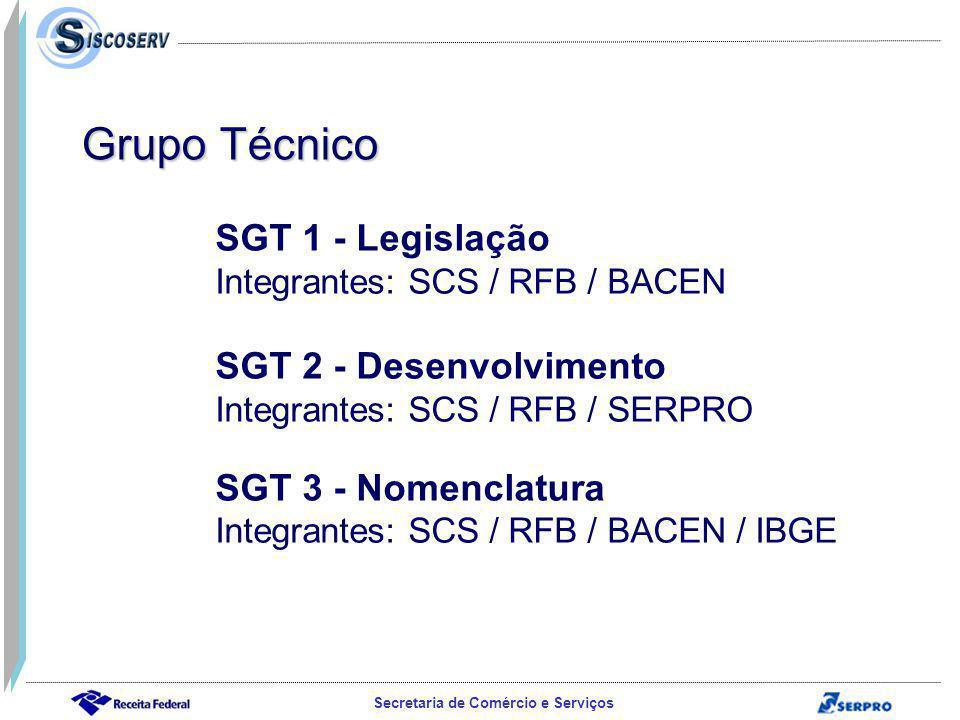 Secretaria de Comércio e Serviços SGT 1 - Legislação Integrantes: SCS / RFB / BACEN SGT 2 - Desenvolvimento Integrantes: SCS / RFB / SERPRO SGT 3 - Nomenclatura Integrantes: SCS / RFB / BACEN / IBGE Grupo Técnico