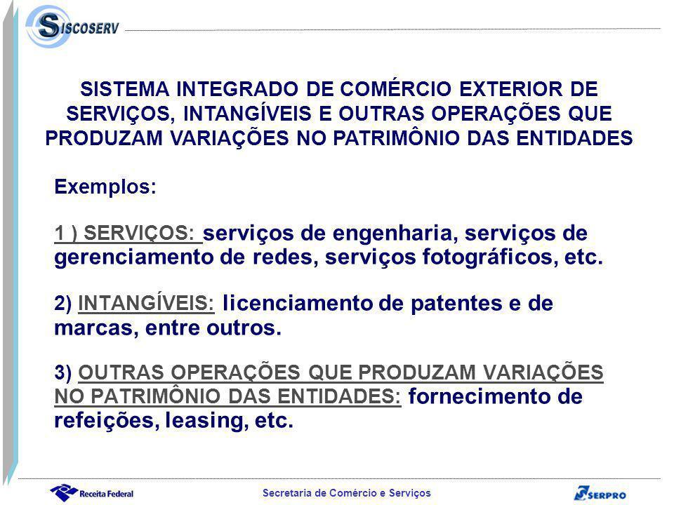 Secretaria de Comércio e Serviços Exemplos: 1 ) SERVIÇOS: serviços de engenharia, serviços de gerenciamento de redes, serviços fotográficos, etc.