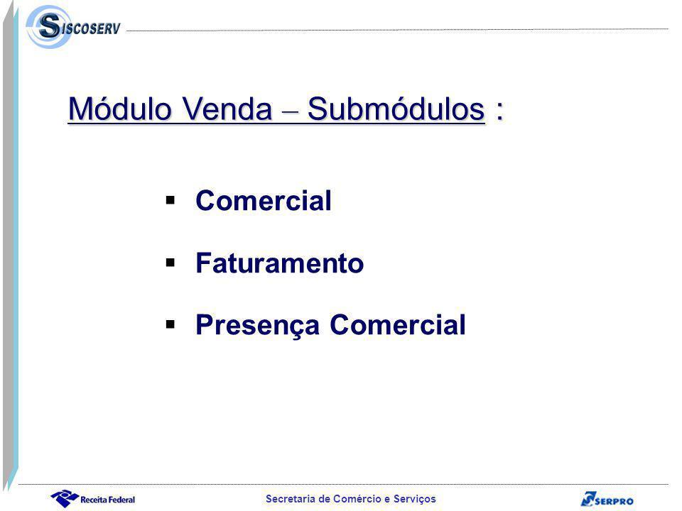 Secretaria de Comércio e Serviços Comercial Faturamento Presença Comercial Módulo Venda – Submódulos :