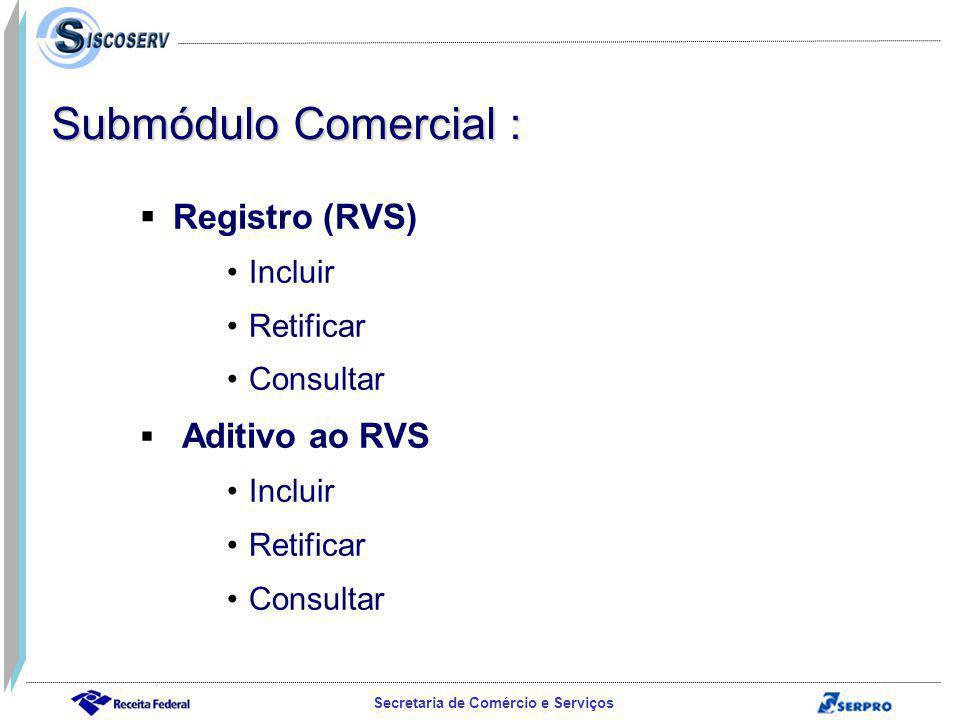 Secretaria de Comércio e Serviços Registro (RVS) Incluir Retificar Consultar Aditivo ao RVS Incluir Retificar Consultar Submódulo Comercial :