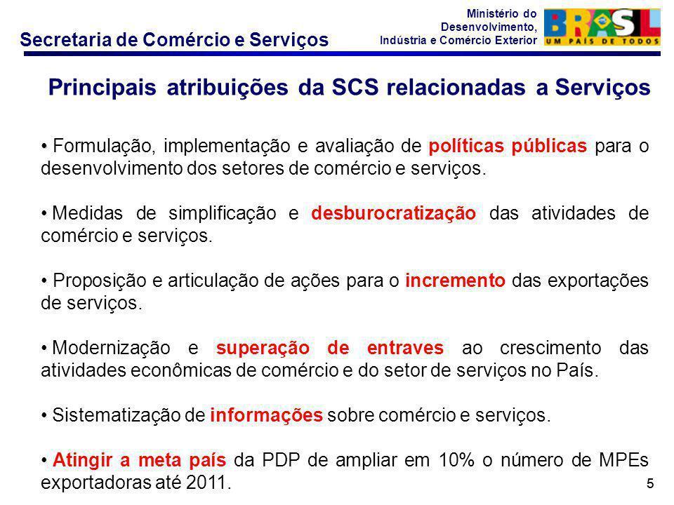 Secretaria de Comércio e Serviços Ministério do Desenvolvimento, Indústria e Comércio Exterior 55 Principais atribuições da SCS relacionadas a Serviços Formulação, implementação e avaliação de políticas públicas para o desenvolvimento dos setores de comércio e serviços.