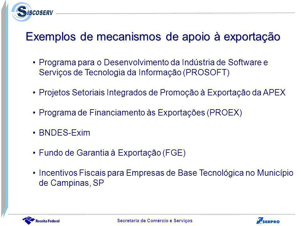 Secretaria de Comércio e Serviços Programa para o Desenvolvimento da Indústria de Software e Serviços de Tecnologia da Informação (PROSOFT)Programa para o Desenvolvimento da Indústria de Software e Serviços de Tecnologia da Informação (PROSOFT) Projetos Setoriais Integrados de Promoção à Exportação da APEX Programa de Financiamento às Exportações (PROEX) BNDES-Exim Fundo de Garantia à Exportação (FGE) Incentivos Fiscais para Empresas de Base Tecnológica no Município de Campinas, SPIncentivos Fiscais para Empresas de Base Tecnológica no Município de Campinas, SP Exemplos de mecanismos de apoio à exportação