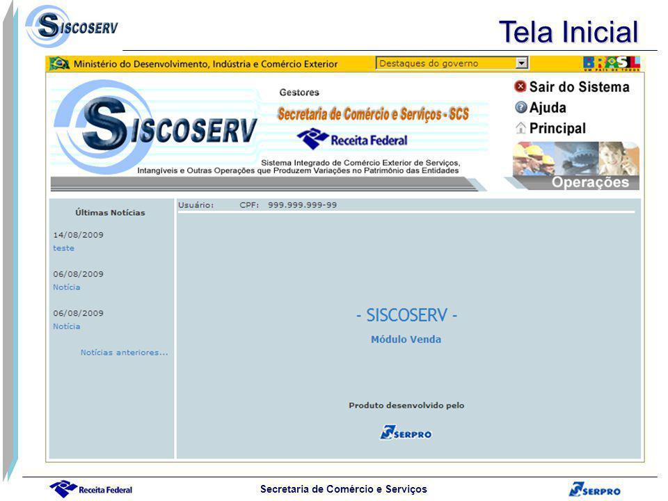 Secretaria de Comércio e Serviços Tela Inicial