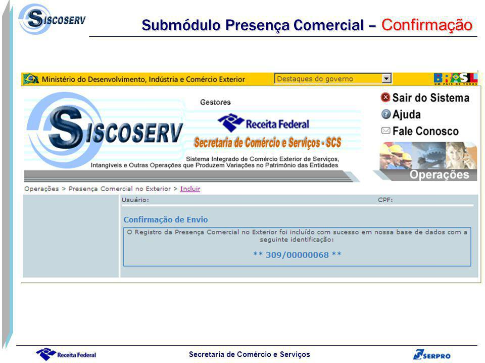 Secretaria de Comércio e Serviços Submódulo Presença Comercial – Confirmação