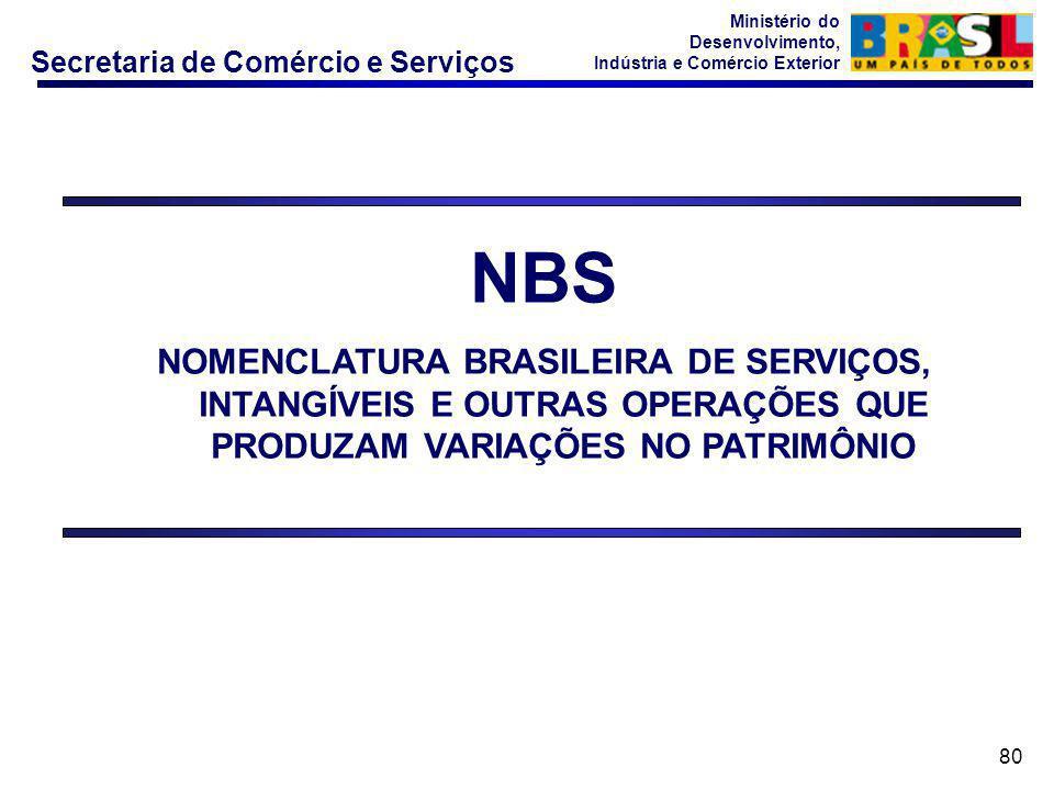Secretaria de Comércio e Serviços Ministério do Desenvolvimento, Indústria e Comércio Exterior 80 NBS NOMENCLATURA BRASILEIRA DE SERVIÇOS, INTANGÍVEIS E OUTRAS OPERAÇÕES QUE PRODUZAM VARIAÇÕES NO PATRIMÔNIO